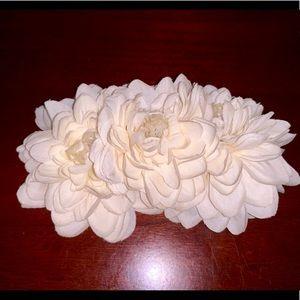 White Ivory Flower Hair Clip